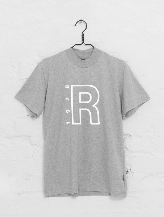 High-neck T-shirt light melange grey / white R