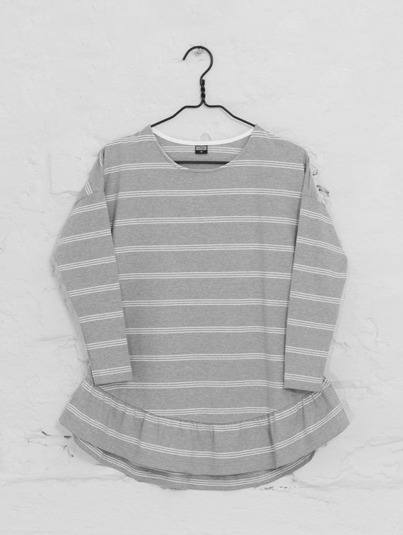 Striped Ruffle Shirt green/white stripe