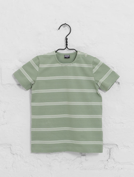 Mini Striped T-Shirt fog green / white stripe