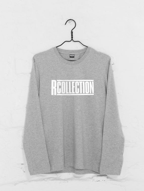 Long-Sleeved T-Shirt light melange grey / white R-Collection