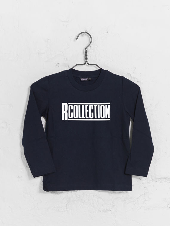 Children's Long-Sleeved T-Shirt dark blue / white logo