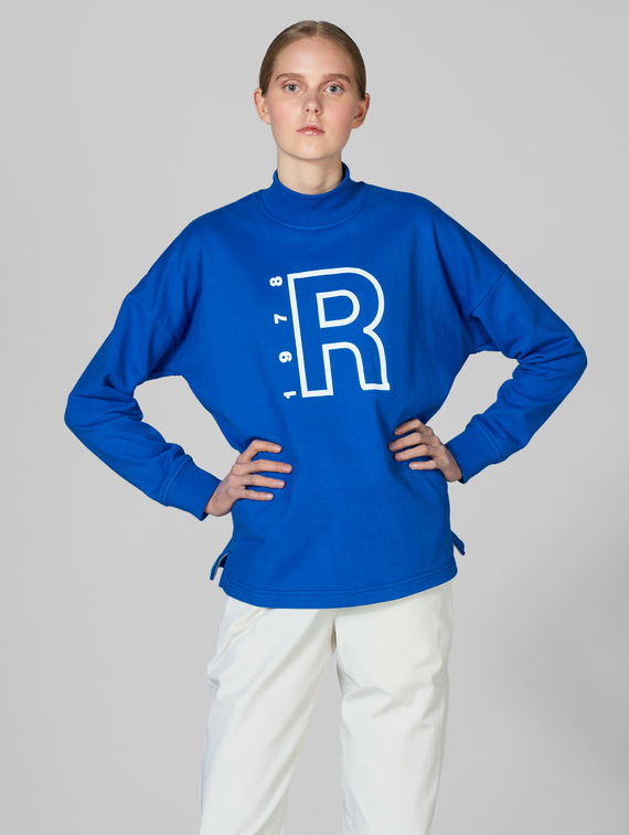 Turtleneck Sweatshirt bright blue / white R