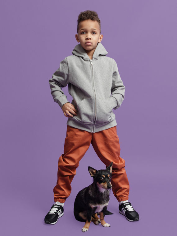 R-Collection Children's Zip Hoodie light melange grey