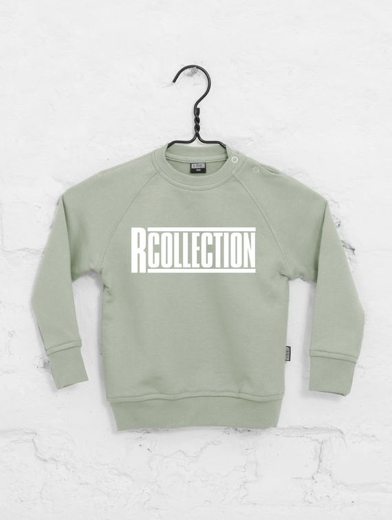 Children's Mini Sweatshirt fog green / white R-Collection
