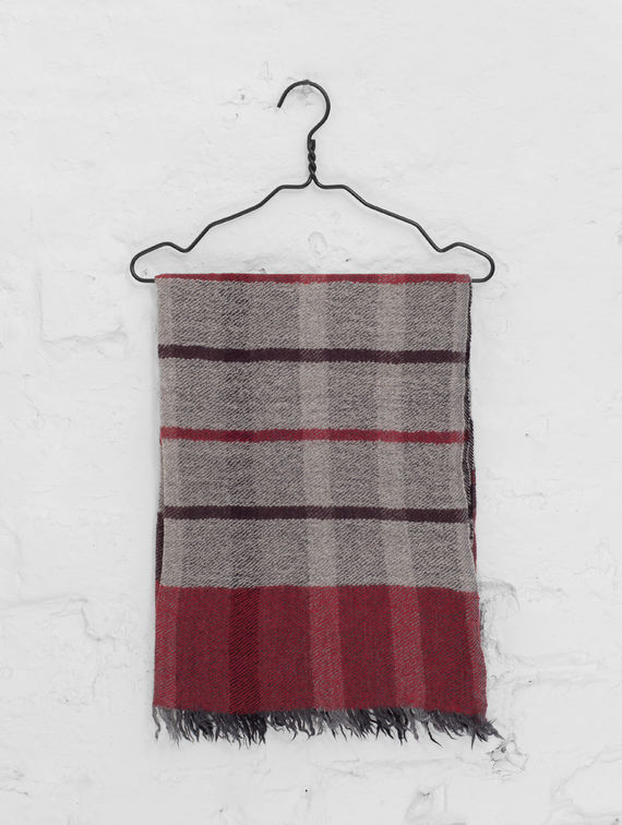 Checkered Scarf light grey / plum check