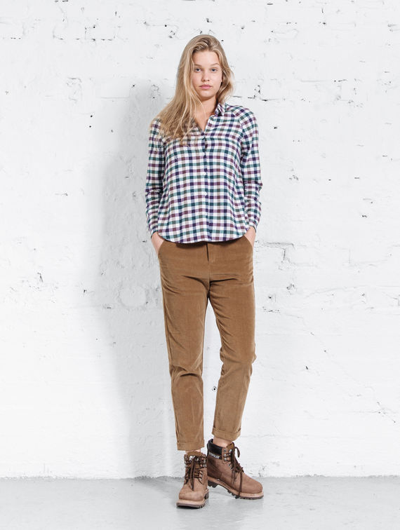 Women´s Flannel Shirt white/violet check