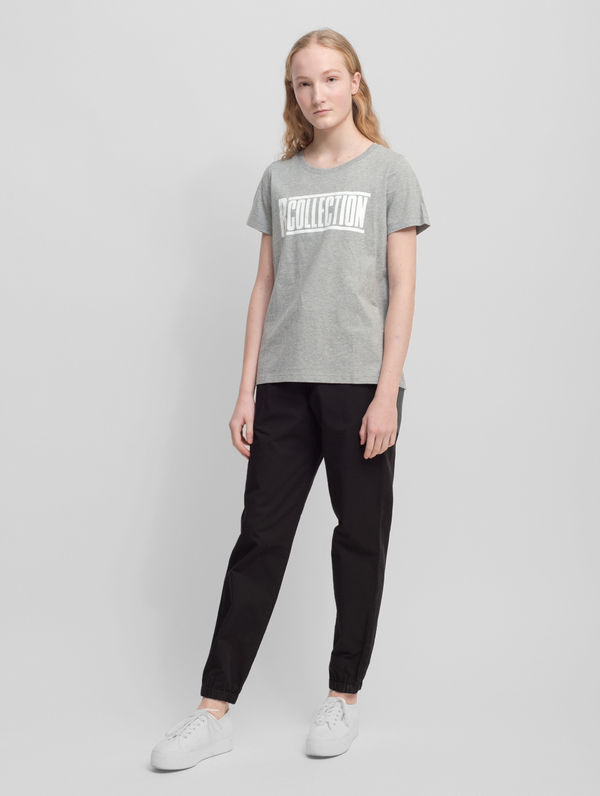 Women's logo T-Shirt light melange grey / white logo