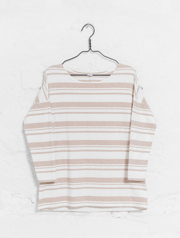 Boxy Striped T-Shirt white/sand stripe