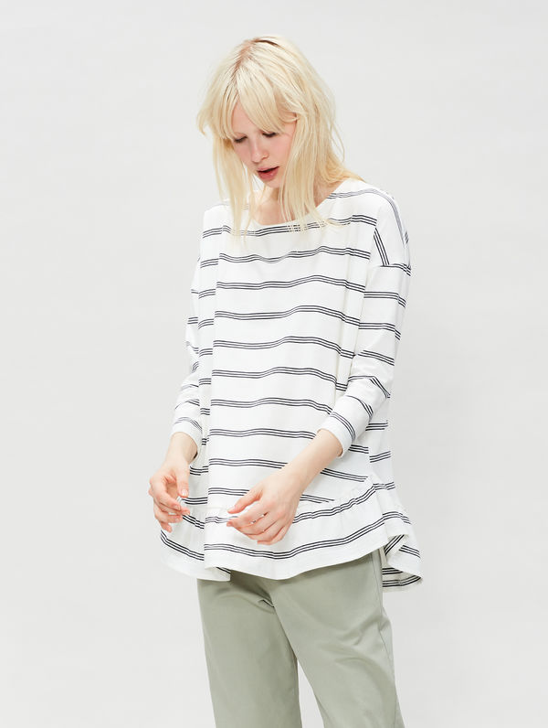 Striped Ruffle Shirt white/blue stripe