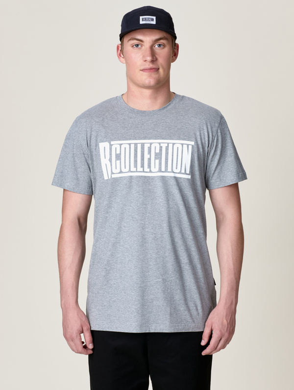 Logo T-Shirt light grey melange / white R-Collection