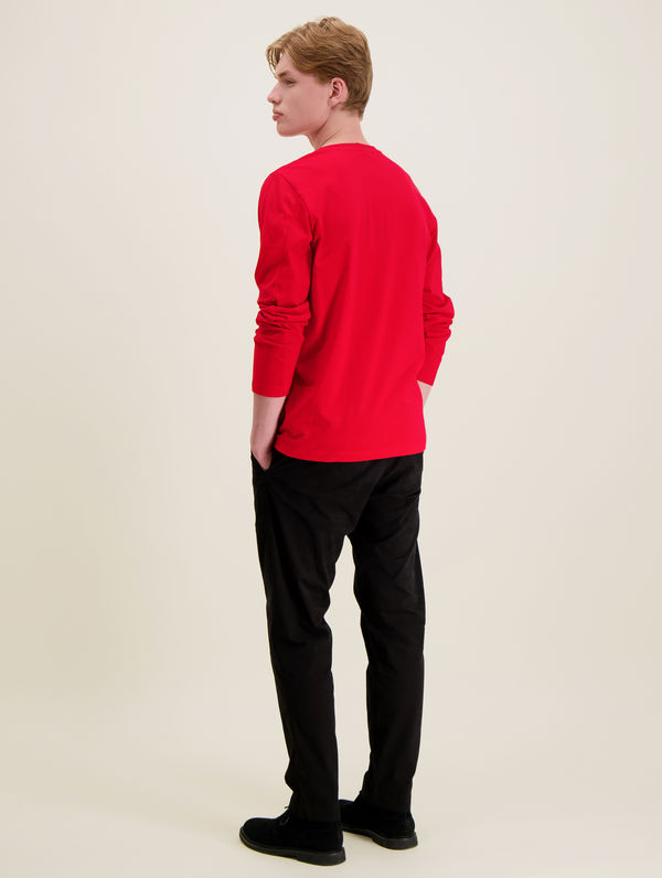 Long-Sleeved T-Shirt red / white R-Collection