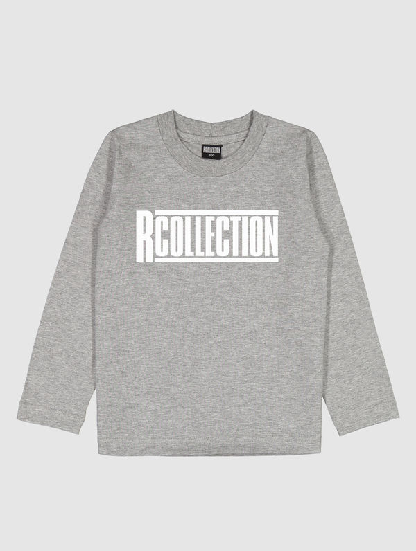 Children's Long-Sleeved T-Shirt light melange grey / white R-Collection