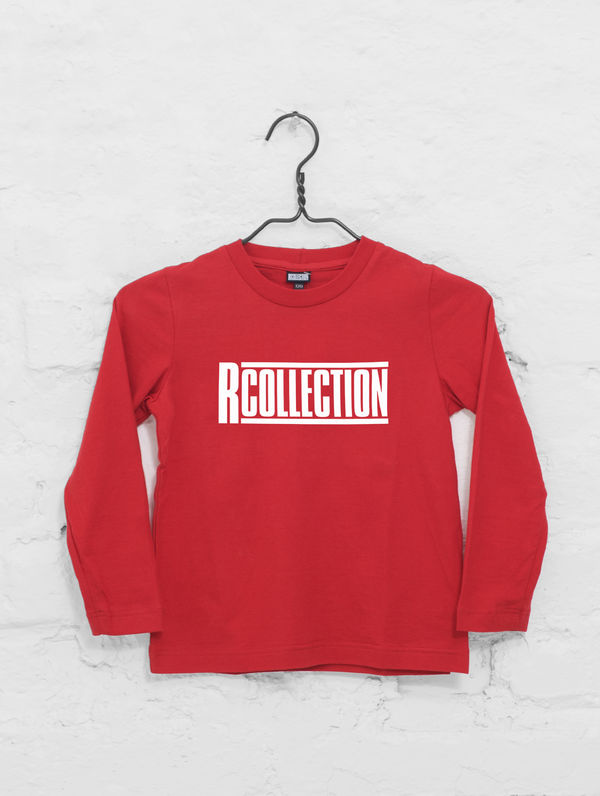 Children's Long-Sleeved T-Shirt red / white logo