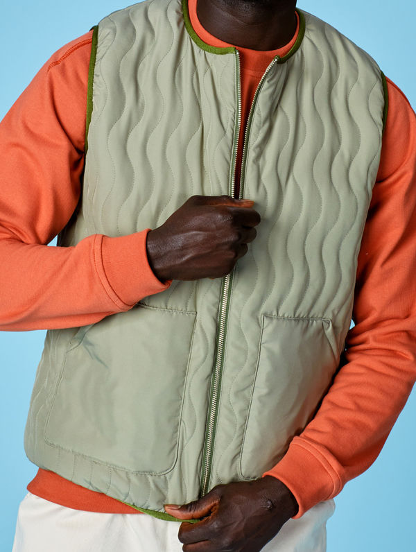 Antton Quilt Vest light moss green
