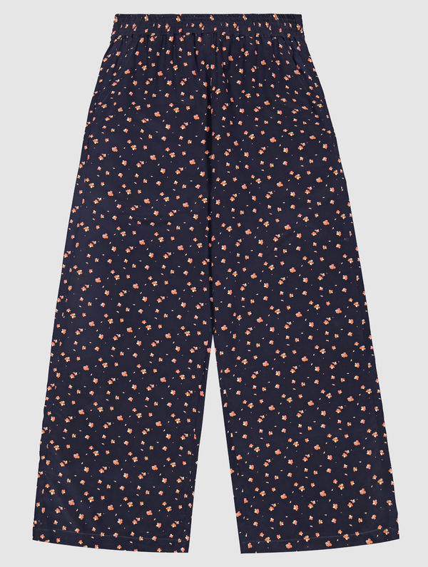 Essi Silk Pants dark blue Orvokki print