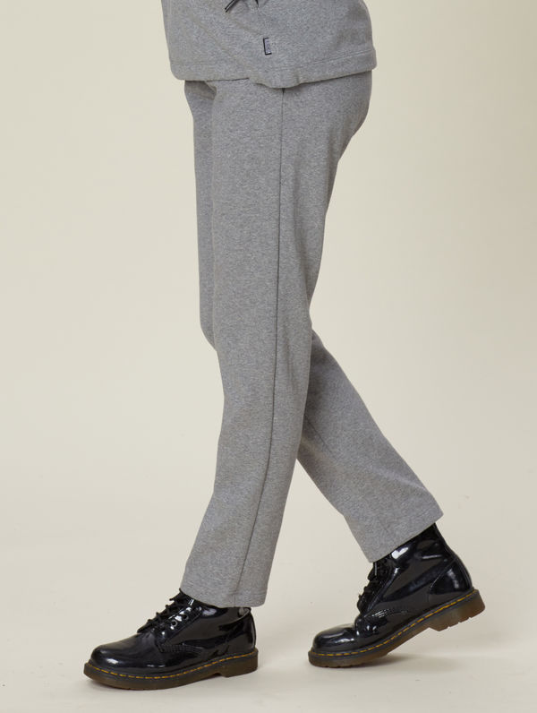 Straight-Cut Slim Sweatpants light grey melange
