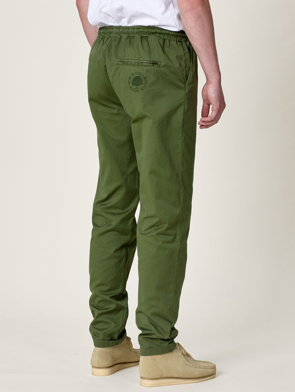 Straight-Cut Anorak Pants moss green
