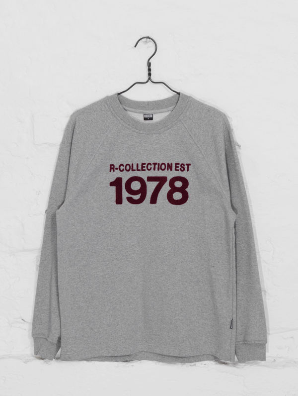 Heritage Sweatshirt light grey melange / burgundy 1978