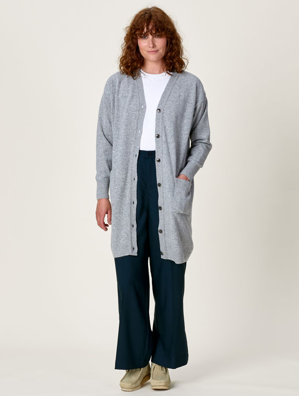 Carla Maxi Cardigan light grey melange