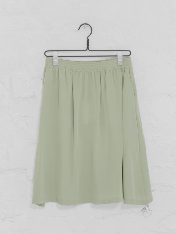 Leena Silk Skirt fog green
