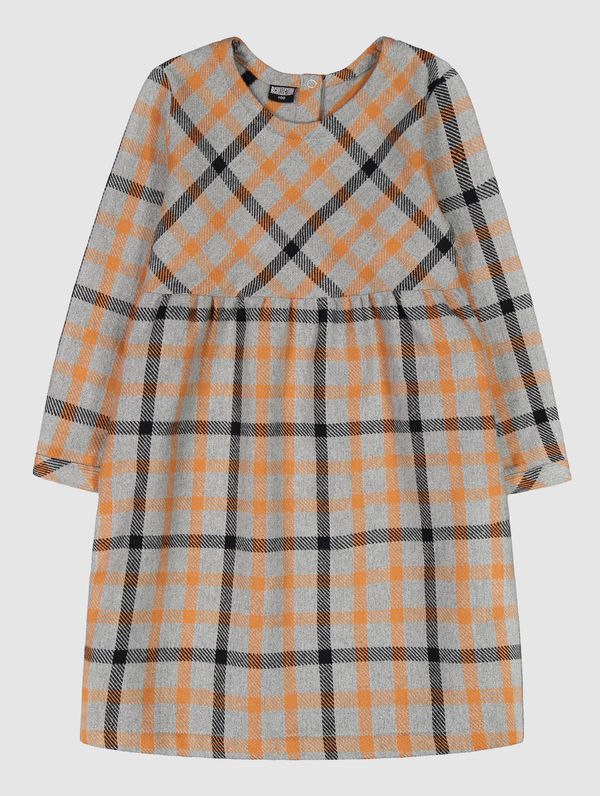 Children's Miina Dress grey/yellow check