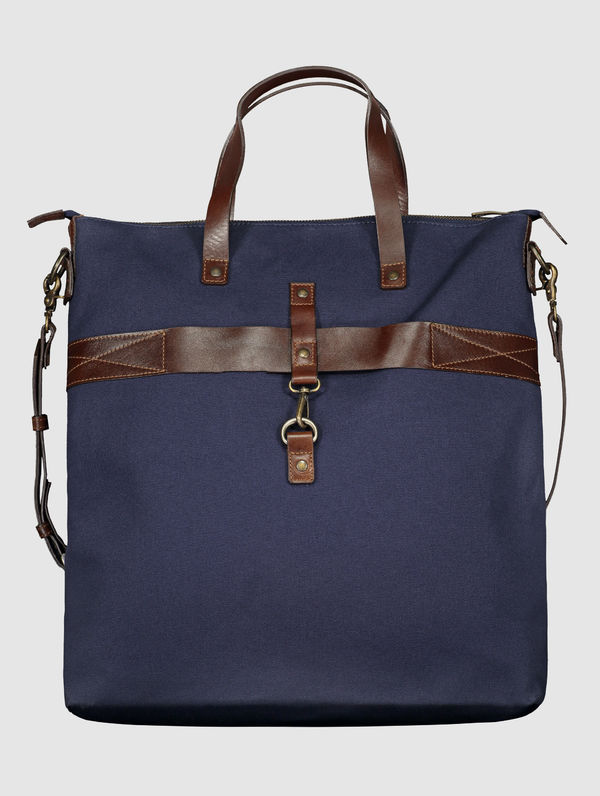 Traveller Canvas Bag dark blue / cognac / brass