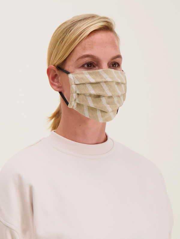 Cloth Face Cover beige/white stripe