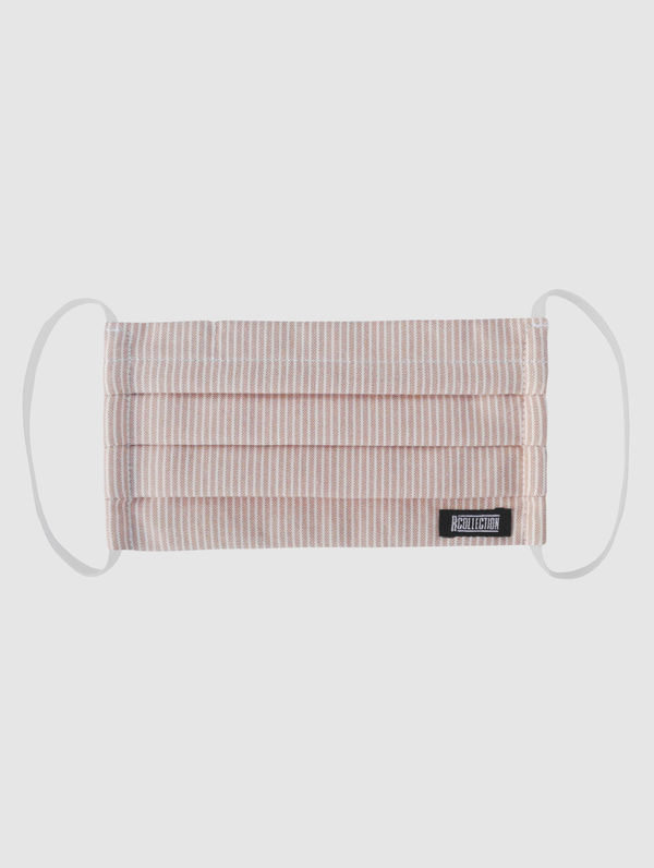 Cloth Face Cover peach/white stripe