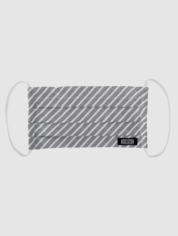 Cloth Face Cover light grey melange / white stripe
