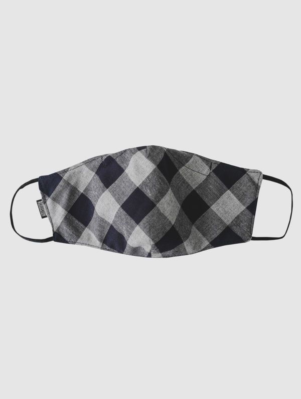 Shaped Cloth Face Cover grey/blue check