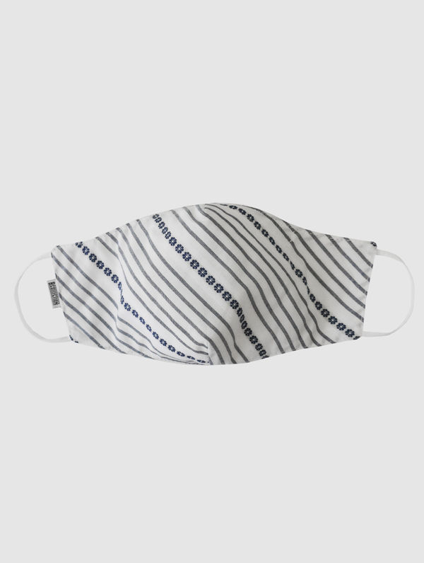 Shaped Cloth Face Cover white flower stripe