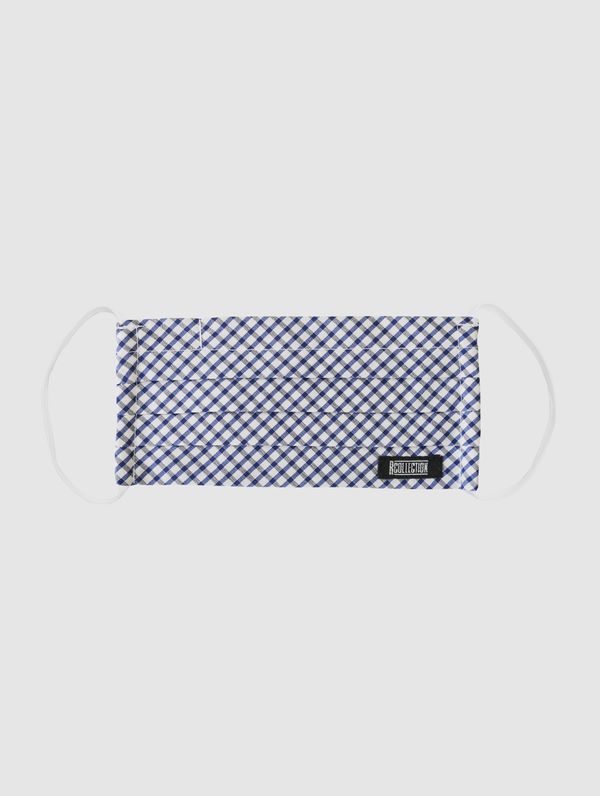 Kids Cloth Face Cover white/blue check