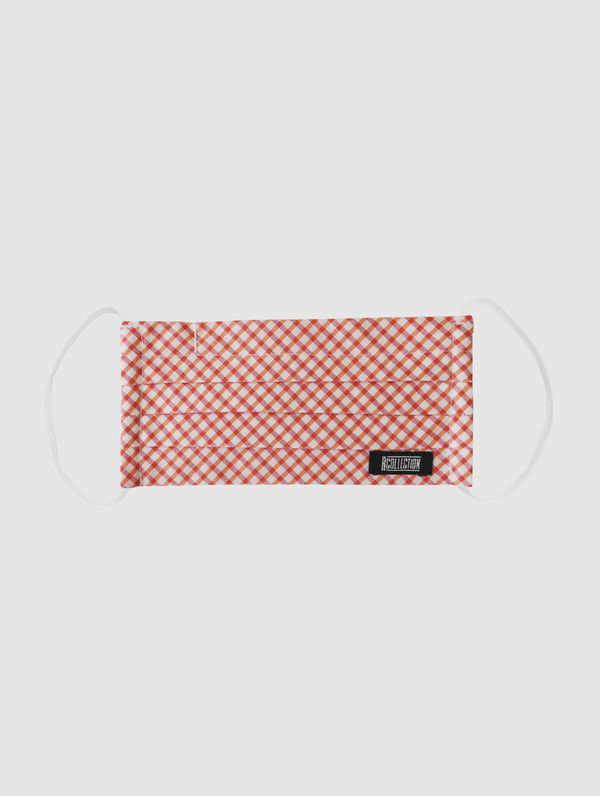 Kids Cloth Face Cover red/white check