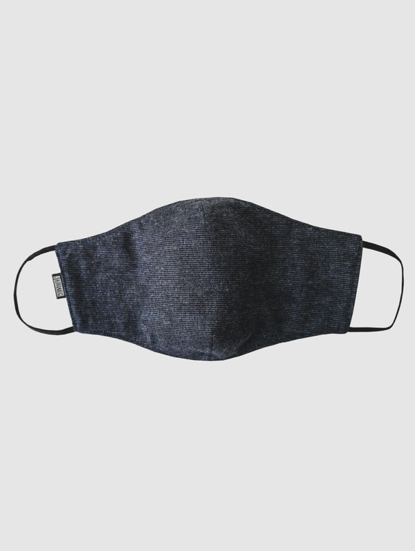 Shaped Cloth Face Cover dark blue pixel pattern